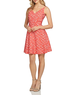 CeCe by Cynthia Steffe Miley Jacquard V-Neck Dress