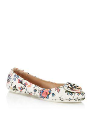 Tory Burch Minnie Floral Print Travel Ballet Flats 2603850