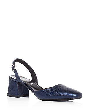 Aska Gabby Crinkled Metallic Slingback Pumps