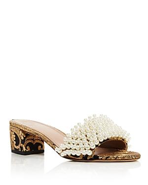 Tory Burch Tatiana Embellished Brocade Slide Sandals