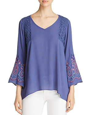 Status by Chenault Embroidered Sleeve Tunic Top - 100% Exclusive
