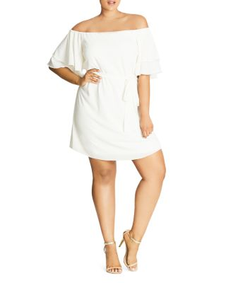 City Chic Trendy Plus Size Off The Shoulder Belted Dress Ivory