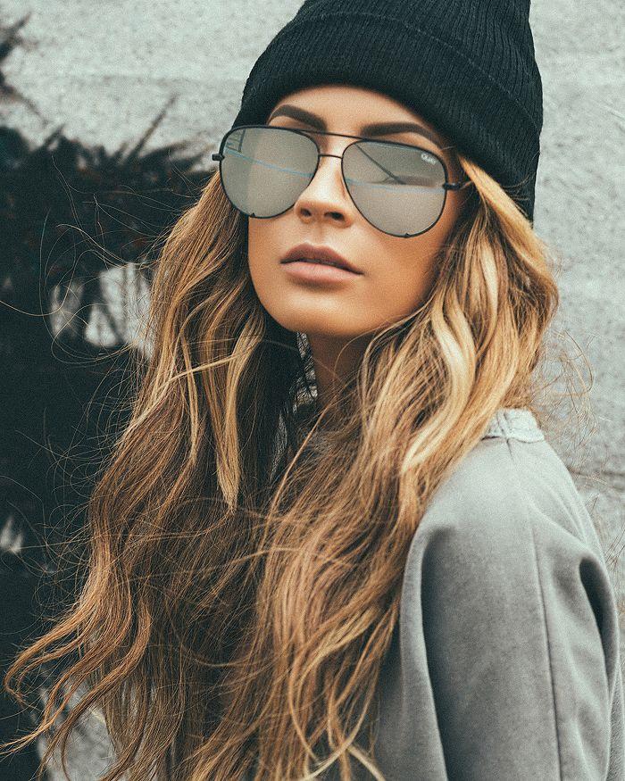 7871ee1905db6 Quay Quay Women s High Key Mirrored Brow Bar Aviator Sunglasses ...