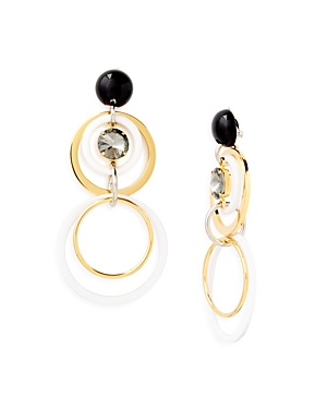 Marni Circles Strass & Acrylic Clip-On Drop Earrings