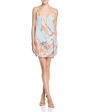 Olivaceous Floral Mini-Wrap Dress