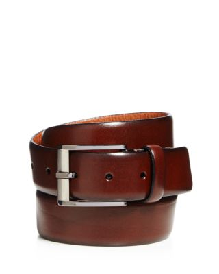 TRAFALGAR Matteo French Calf Leather Belt in Dark Brown