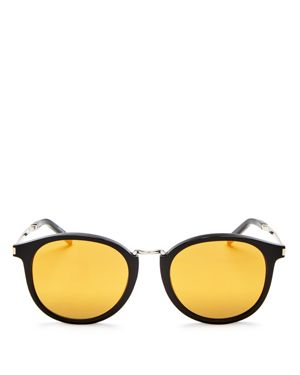 Saint Laurent Classic Mirrored Round Sunglasses, 49mm