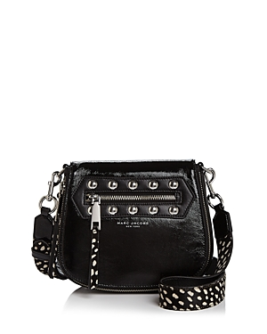 Marc Jacobs Nomad Studded Calf Hair Strap Small Patent Leather Saddle Bag
