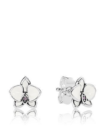 PANDORA - Sterling Silver & Cubic Zirconia Orchid Earrings