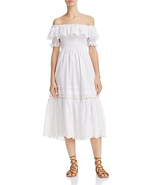 Rebecca Taylor Eyelet Off-the-Shoulder Midi Dress