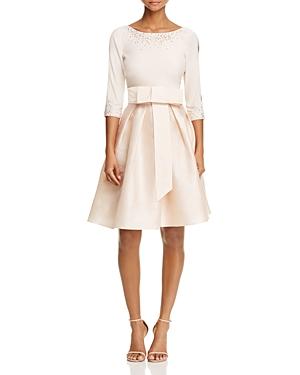 Adrianna Papell Three-Quarter Sleeve Taffeta Bow Dress
