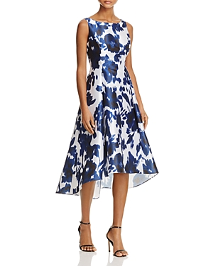 Adrianna Papell Abstract Floral High/Low Dress