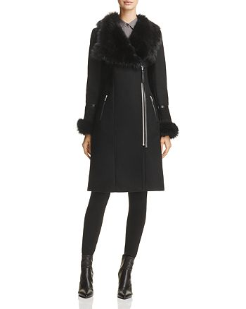 Mackage - Nerea Sheepskin Fur Trim Coat - 100% Exclusive