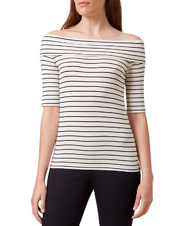 $HOBBS LONDON Gail Striped Bardot Off-the-Shoulder Top - Bloomingdale's