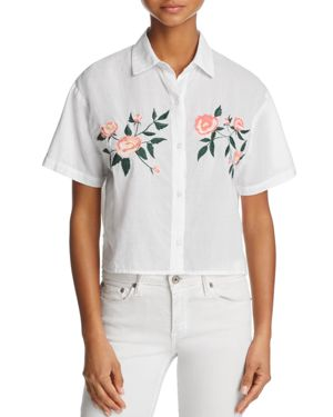 Rails Gretta Floral-Embroidered Cropped Shirt
