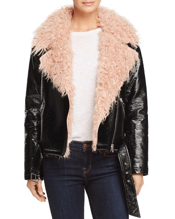 $Sunset + Spring Faux Fur-Collar Moto Jacket - 100% Exclusive - Bloomingdale's