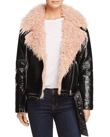 Sunset & Spring - Faux Fur-Collar Moto Jacket - 100% Exclusive
