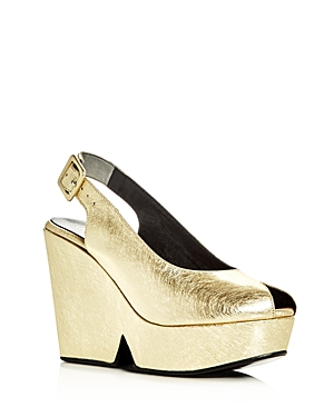 Robert Clergerie Dylann Metallic Peep Toe Platform Wedge Slingback Sandals