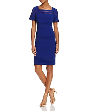 Adrianna Papell Mesh-Inset Banded Dress