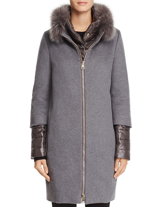 ca7a343a4d91 Herno Fox Fur Trim Cashmere Coat