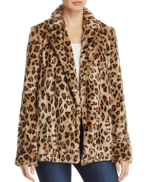 Theory Clairene Leopard-Print Faux-Fur Coat
