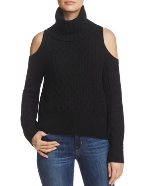 Theory Cold-Shoulder Cabled Turtleneck Sweater