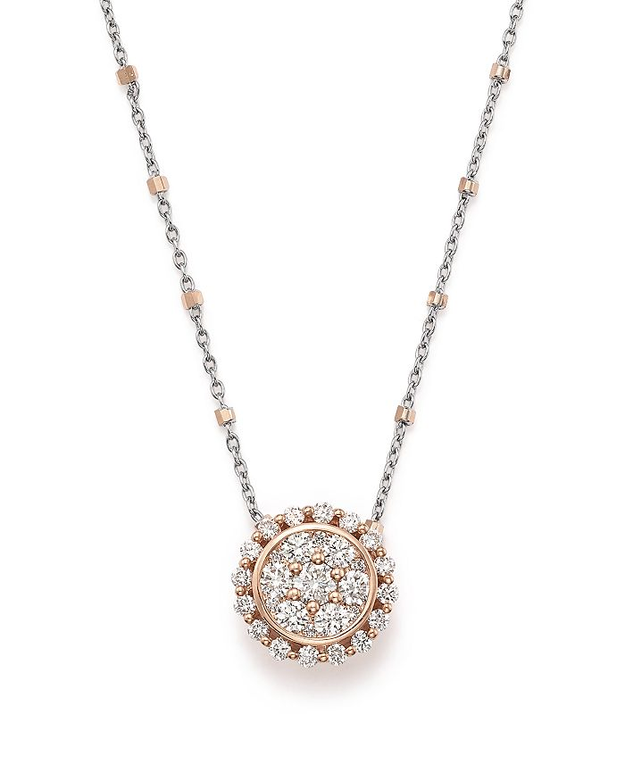 Bloomingdale's - Diamond Pendant Satellite Chain Necklace in 14K Rose and White Gold, .75 ct. t.w. - 100% Exclusive