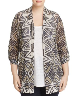 NIC AND ZOE PLUS Mountain Dreams Lightweight Linen Blend Cardigan in Multi