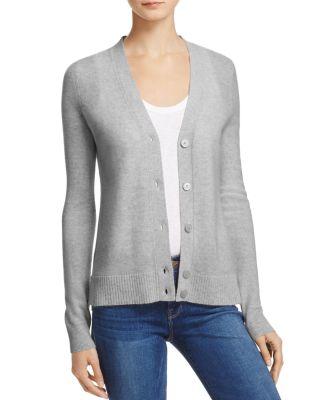 AQUA Cashmere V-Neck Cashmere Cardigan - 100% Exclusive in Light Gray
