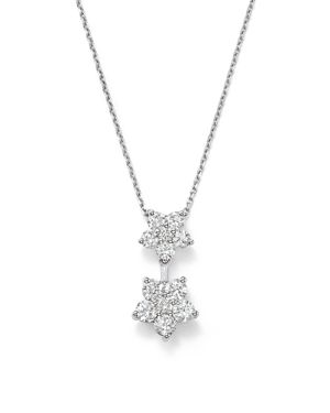Diamond Flower Pendant Necklace in 14K White Gold, .85 ct. t.w. - 100% Exclusive