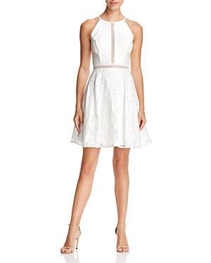 Avery G Illusion-Inset Lace Dress