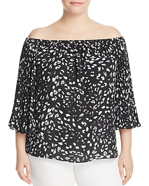 Vince Camuto Plus Animal Whispers Off-the-Shoulder Top