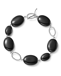 Bloomingdale's - Sterling Silver and Onyx Station Bracelet - 100% Exclusive