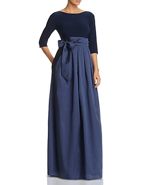 Adrianna Papell Three-Quarter Sleeve Taffeta Gown