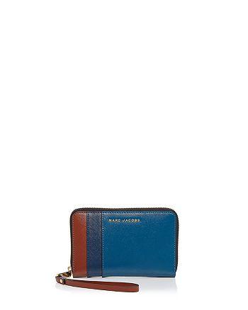 MARC JACOBS - Zip Color Block Saffiano Leather Phone Wristlet