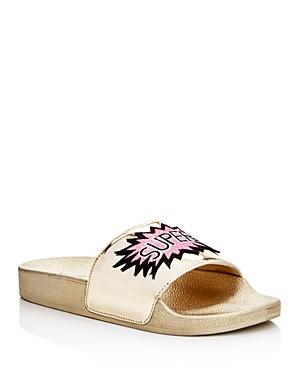 Steve Madden Girls' Grltalk Super Star Metallic Applique Slide Sandals - Little Kid, Big Kid