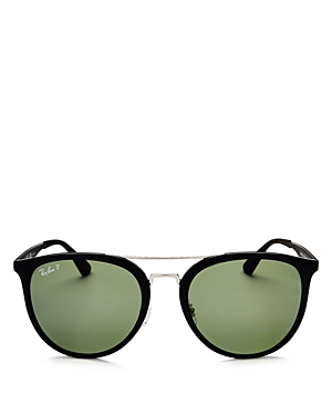 Ray-Ban Polarized Brow Bar Square Sunglasses, 55mm