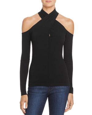 Milly Crossover Cold-Shoulder Top