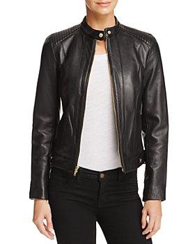Cole Haan - Leather Zip Jacket
