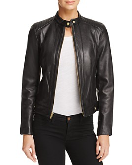 Cole Haan - Leather Zip Jacket