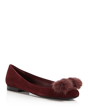 Salvatore Ferragamo Varina Mink Fur Bow Ballet Flats