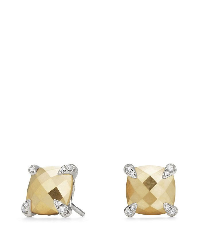 David Yurman - Châtelaine Stud Earrings with 18K Gold and Diamonds