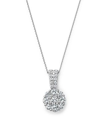 Bloomingdale's - Diamond Flower Cluster Pendant Necklace in 14K White Gold, 1.0 ct. t.w. - 100% Exclusive