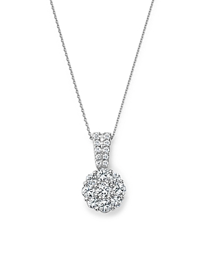 Diamond Flower Cluster Pendant Necklace in 14K White Gold, 1.0 ct. t.w. - 100% Exclusive