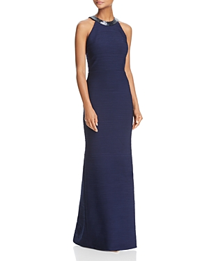 Carmen Marc Valvo Infusion Open Back Ruched Gown