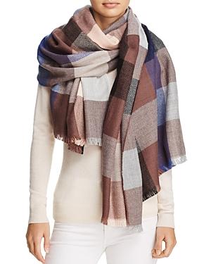 Aqua Plaid Colorblock Blanket Scarf - 100% Exclusive