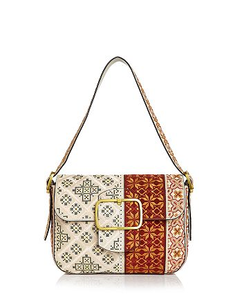 109d77da09a4 Tory Burch - Sawyer Embroidered Suede Shoulder Bag