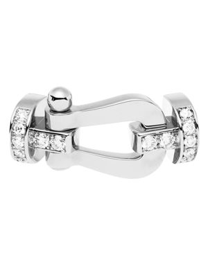 FRED 18K White Gold Force 10 Diamond Large Buckle in White/White Gold