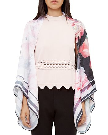 Ted Baker - Philana Painted Posie Silk Cape Scarf