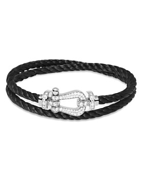 Fred - Force 10 Large Black Double-Wrap Cable Bracelet with 18K White Gold Diamond Buckle